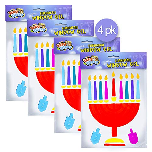 Izzy 'n' Dizzy Menorah Window Gel Cling - 4 Pack - Self Sticking Chanukah Menorah and Dreidels - Hanukkah Party Decorations and Supplies - Decorations Hanukkah Party