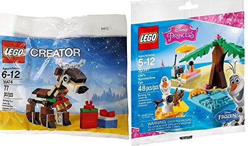 Lego Disney Princess Olaf's Summertime Fun Frozen Set 30397 + Lego Creator 30474 Reindeer Seasonal Exclusive Set LEGO (30204) Polybag edition Building -