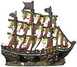 Penn Plax Striped Sail Shipwreck Aquarium Decoration Ornament Colorful Red and White Design 12 Inch