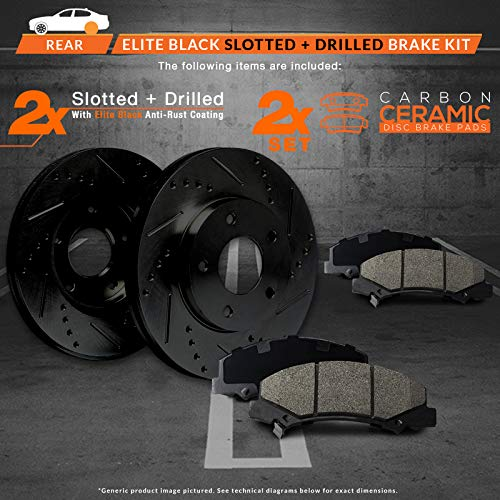 KM114621 Premium Cross Drilled Rotors + Ceramic Pads Fits: 2014 14 Fits Nissan Altima Max Brakes Front Supreme Brake Kit