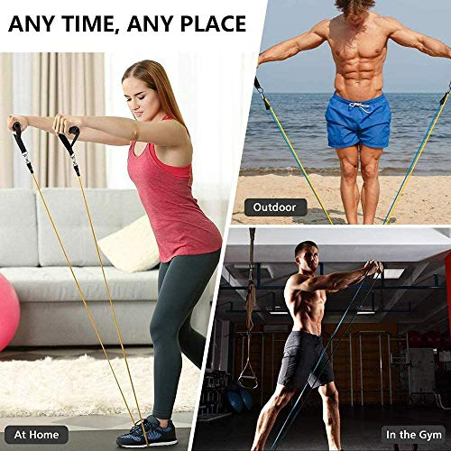 Domoki Resistance Bands Set 11 PCS, Exercise Bands with Door Anchor, Handles, Waterproof Carry Bag, Legs Ankle Straps for Resistance Training, Physical Therapy, Home Workouts