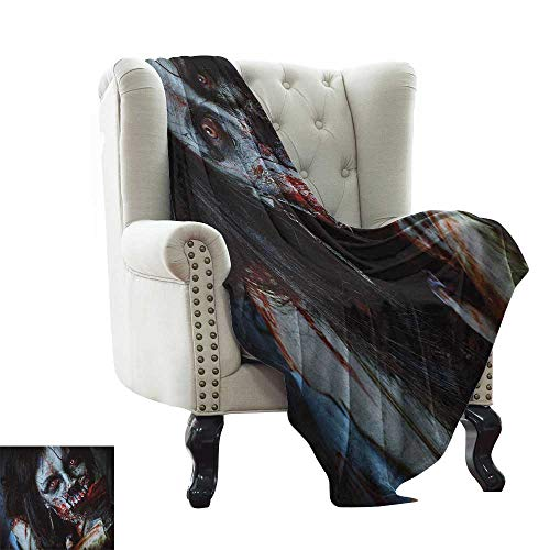 LsWOW Pool Blanket Zombie,Scary Dead Woman with a Bloody Axe Evil Fantasy Gothic Mystery Halloween Picture, Multicolor Blanket for Sofa Couch TV Bed All Season 50