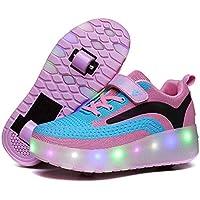 HUSKSWARE حذاء تزلج للأطفال ذو بكرة مضيئة حذاء تزلج LED حذاء تزلج رياضي تزلج تزلج عجلات قابلة للسحب