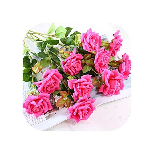 11 Pcs 48Cm Artificial Rose Fake Rose Bouquet Home Decoration Plastic Flower Indoor Dried Flower Floral Ornament,Rose Red Rb