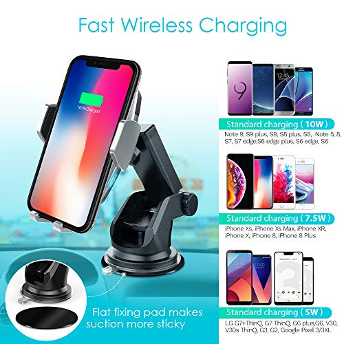 Heiyo Wireless Car Charger Mount, Auto-Clamp Cradle, Qi Charging Holder, Windshield & Air Vent, 10W Compatible for Samsung S9/S9+/S8/Note 8, 7.5W Compatible for iPhone Xs Max//Xs/XR/X 8/8 Plus(Black) by Heiyo (Image #2)