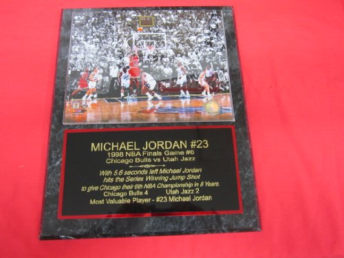 Michael Jordan 1998 NBA Finals GAME WINNING SHOT Custom Engraved Collector Plaque w/8x10 - Nba 1998 Game Finals