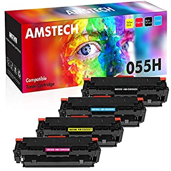 Image of Laser Printer Drums & Toner Amstech Compatible Toner Cartridge Replacement for Canon 055H 055 Canon Color imageCLASS MF743Cdw MF741Cdw MF746Cdw MF745Cdw MF740 LBP664Cdw LBP660C No Chip Ink (Black Cyan Magenta Yellow, 4-Pack)