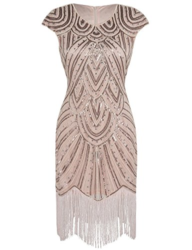 Luxury Champagne (PrettyGuide Women 1920s Gastby Sequined Embellished Fringed Flapper Dress Luxury Champagne Pink S)