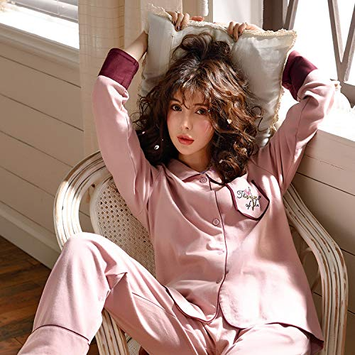 xl Pezzi Rosa Gzz Due Donna Maniche Lunghe Pigiameria Notte Pigiami Pigiama Autunno Primavera Camicia Da Camicie Cotone 1Bq18a