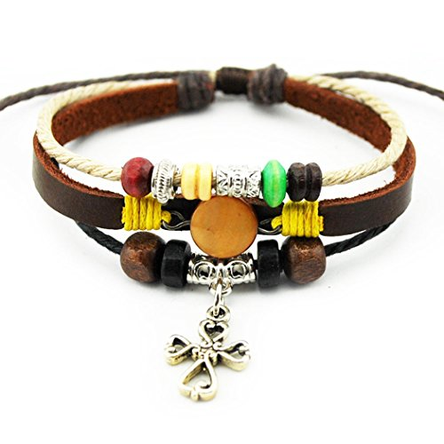 [MORE FUN Charm Heart & Cross Pendant Orange Button White Braided Rope Leather Adjustable Wrap Bracelet] (Board Game Inspired Costumes)
