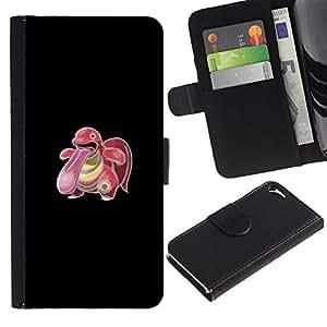 Protector de cuero de la PU de la cubierta del estilo de la carpeta del tirón BY RAYDREAMMM - Apple Iphone 5 / 5S - Monstruo del empuje de Big Tongue