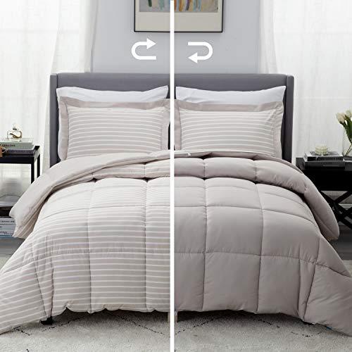 Bedsure Khaki King Comforter Set – 3 Piece Reversible Percale Stripes Down Alternative Box Stitching Duvet Insert with 8…