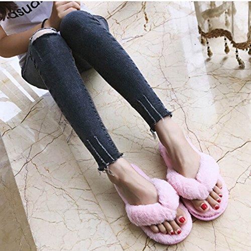 Spa Donna Imitazione Casa Bhydry Pantofole Creativo Peluche Rosa Casual Pelliccia Infradito w8qAUgEPq