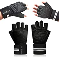 Nano Hertz Weightlifting Workout Gloves with Wrist Wrap...