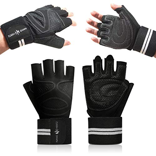 NH Weight-Lifting Workout Gloves with Wrist Wraps | Gym Crossfit Fitness Training Hand Grips Accessories | Support Power Weight Lifting, Rowing, Pull Up for Men & Women (Black, XL)
