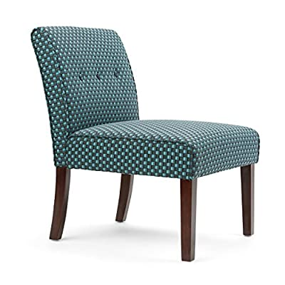 Simpli Home Sallybrook Accent Chair in Teal Patterned Fabric - Upholstered with Teal pattern fabric High density foam and reinforced seat webbing for extra support Handcrafted with care using the finest quality solid and engineered wood - living-room-furniture, living-room, accent-chairs - 51Ku1wBlzPL. SS400  -