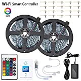 AMXXON LED Strip Lights 32.8FT 5050 RGB WiFi LED Light Strip,Smart Phone Controlled LED Strip Kit,Timer LED Tape Light,Works with Android iOS and Google Home