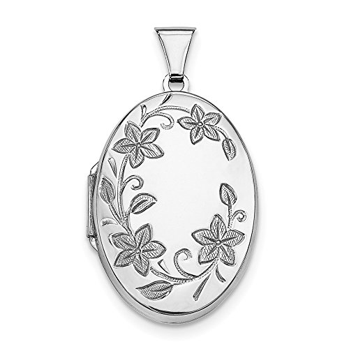 925 Sterling Silver 32mm Floral Oval Photo Pendant Charm Locket Chain Necklace That Holds Pictures Fine Jewelry Gifts For Women For Her