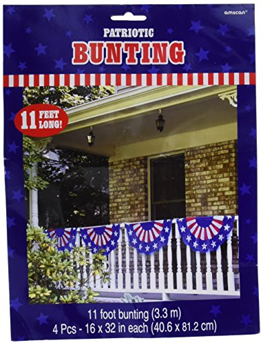 Amscan Stars & Stripes Fourth of July Party Bunting Banner Decoration (1 Piece), Multi Color, 11' x (Stars And Stripes Bunting)