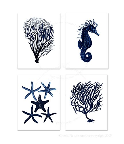 navy blue and coral wall art - 2