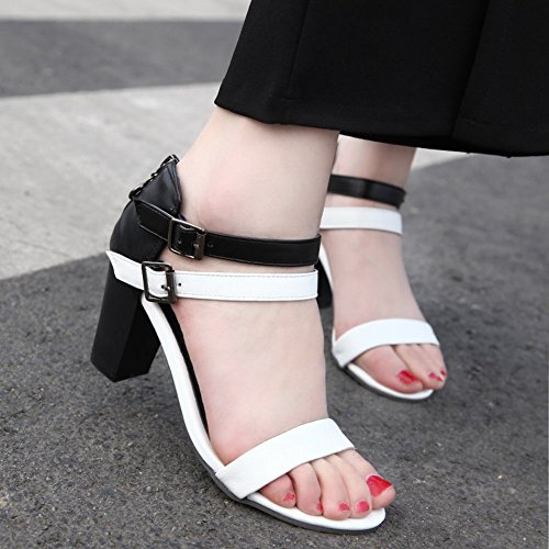 Mee Shoes Women's Chic High Heel Ankle Strap Block Heel Buckle Sandals White PSUDn