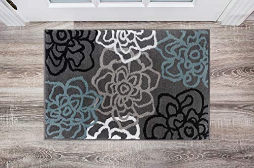 Contemporary Modern Floral Flowers Gray Area Rug 2 x 3