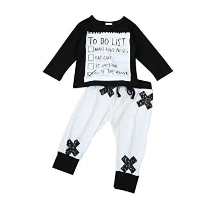 fd1d34083 For 0-5 Years old Baby,DIGOOD Kids Toddler Newborn Baby Boys Girls Letter  Print Tops Cross Pants Set Suit Clothes