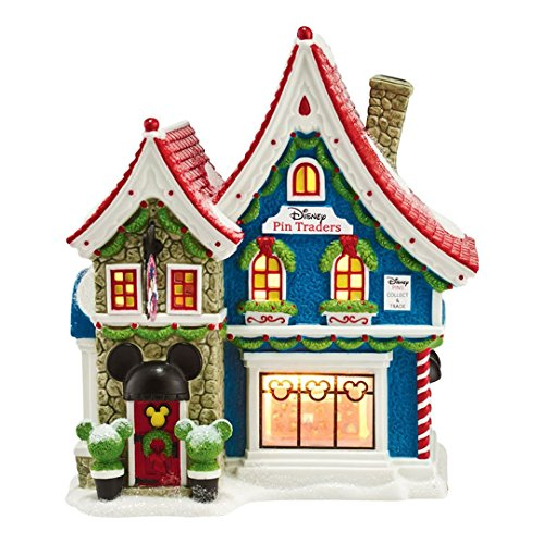 56 North Pole Village - Department 56 North Pole Village Mickey's Pin Traders Lighted House, 8.18