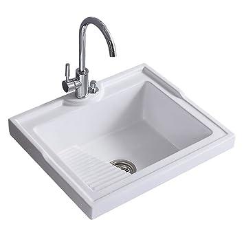 kleankin Rectangular Vessel Sink Above Counter Art Basin Porcelain Ceramic  Bathroom Vanity Sink - High Glossy White