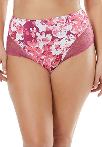 (Amoureuse Women's Plus Size Lace Full-Cut Brief - Ruby Berry Floral, 11)