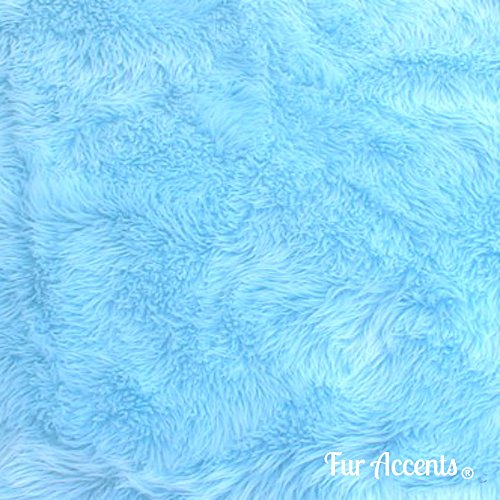 Plush Faux Fur - Cut Yardage - Light Sky Blue - Shaggy Shag by the Yard - Acrylic and Polyester Fur Accents Fur and Fabric Brand (36''x60'') (Sky Rug Blue)
