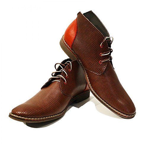 Brown Modello Chukka Up Handmade Ireneo Lace Ankle Italian Embossed Leather PeppeShoes Mens Boots Leather Cowhide Yd8H6Ww