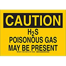 """Brady 124285 Chemical and Hazard Sign, Legend""""H2S Poisonous Gas May Be Present"""", 10"""" Height, 14"""" Width, Black on Yellow"""