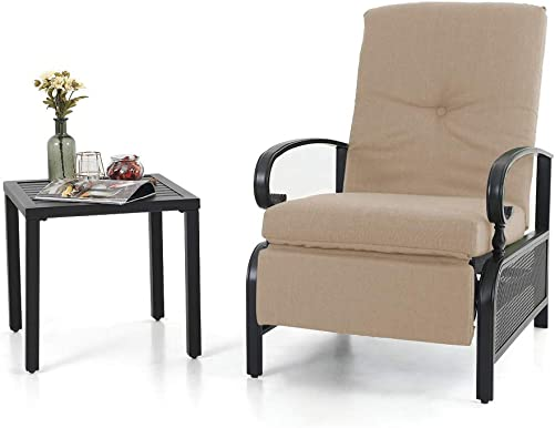 PHI VILLA Patio Metal Adjustable Relaxing Recliner Lounge Chair and Small Side Table Set