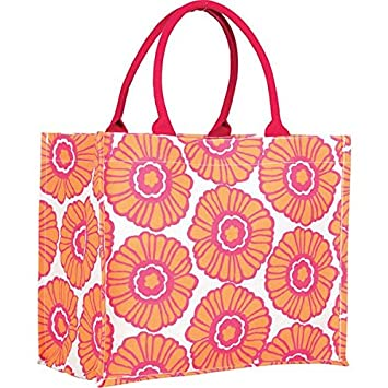 Rock Flower Paper Fashion Market Totes Daisy Orange