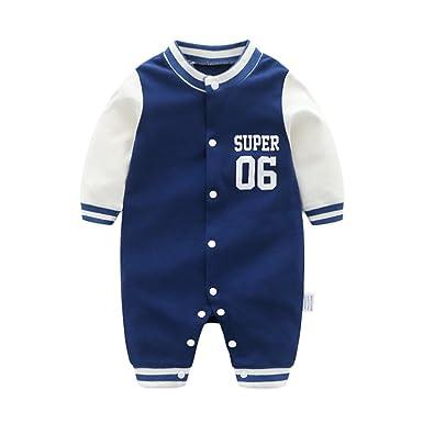 fb89329575af Amazon.com  DOESLOOK Newborn Baby Boys Baseball Romper Long Sleeve ...