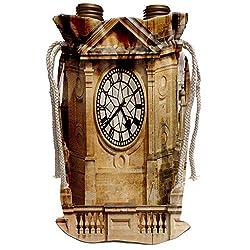 3dRose Danita Delimont - David Wall - Clocks - Clock Tower, City Hall, Cape Town, South Africa. - Wine Bag (wbg_187874_1)
