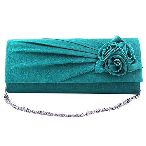 Moda Color de de con Hombro Turquesa Bolso Bolso Mano Cadena xwqAYnfBT