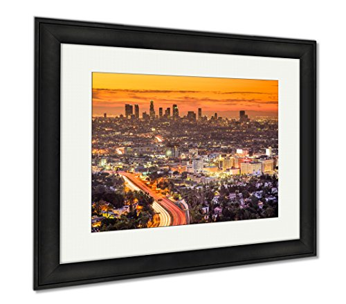 Ashley Framed Prints Los Angeles Skyline, Modern Room Accent Piece, Color, 34x40 (frame size), Black Frame, - Drive Beverly In