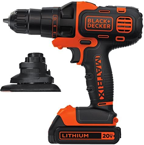 Black Decker BDCDMT120C-S Matrix 20-Volt MAX Lithium Matrix Drill Driver Sander Attachment Combo