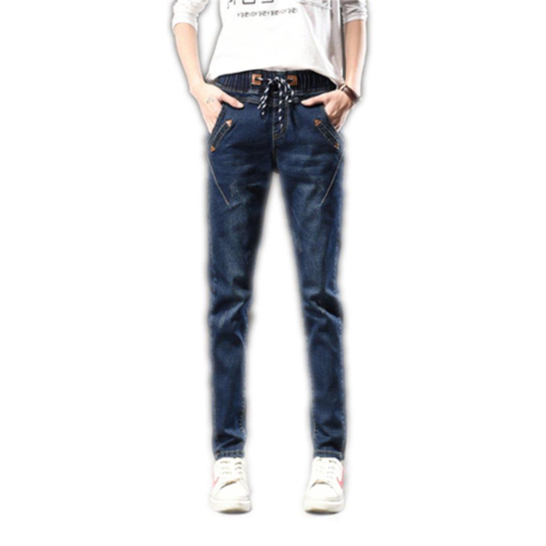 Vintage Regular Spandex Ripped Denim Harem Pants Loose Long Woman Jeans