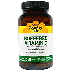 Country Life, Buffered Vitamin C, 500 mg, 250 Tablets