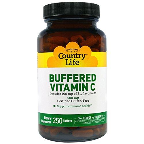 - Country Life - Buffered Vitamin C 500 mg Plus Bioflavonoids 100 mg - 250 Tablets