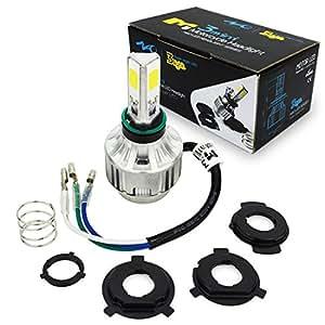 H4 18W Hi/Lo COB LED Motor Bike/ciclomotor/motocicleta/scooter/ATV Faro Bombilla 1800LM coche LED lámpara de techo headLight fog DRL bulb Diamante color ...