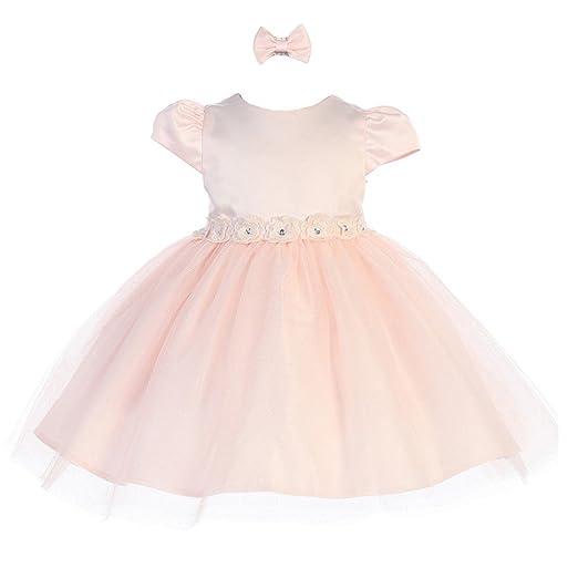 e043e85f7 Amazon.com  Baby Girls Blush Rhinestone Center Flower Adorned Satin ...