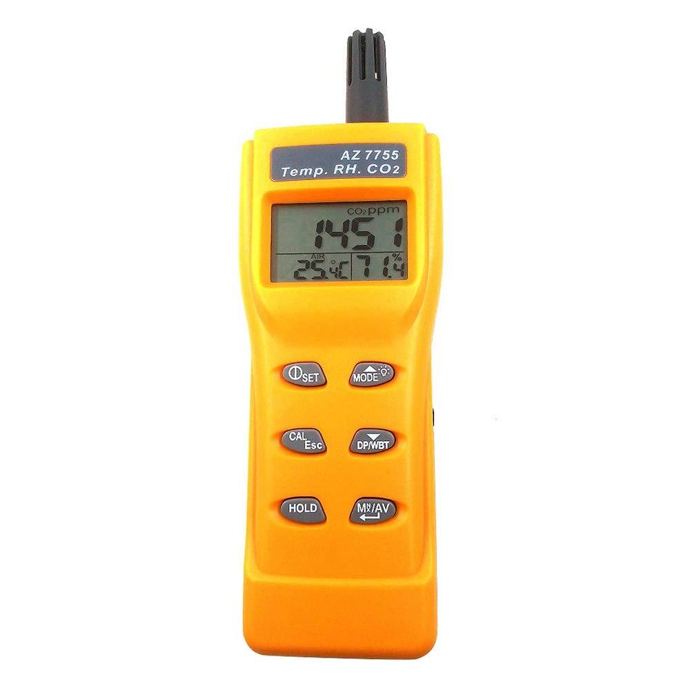 SODIAL Az7755 Detector De Gas Co2 con Prueba De Temperatura y Humedad con Conductor De Salida De Alarma Sistema De Ventilación con Control De Relé ...