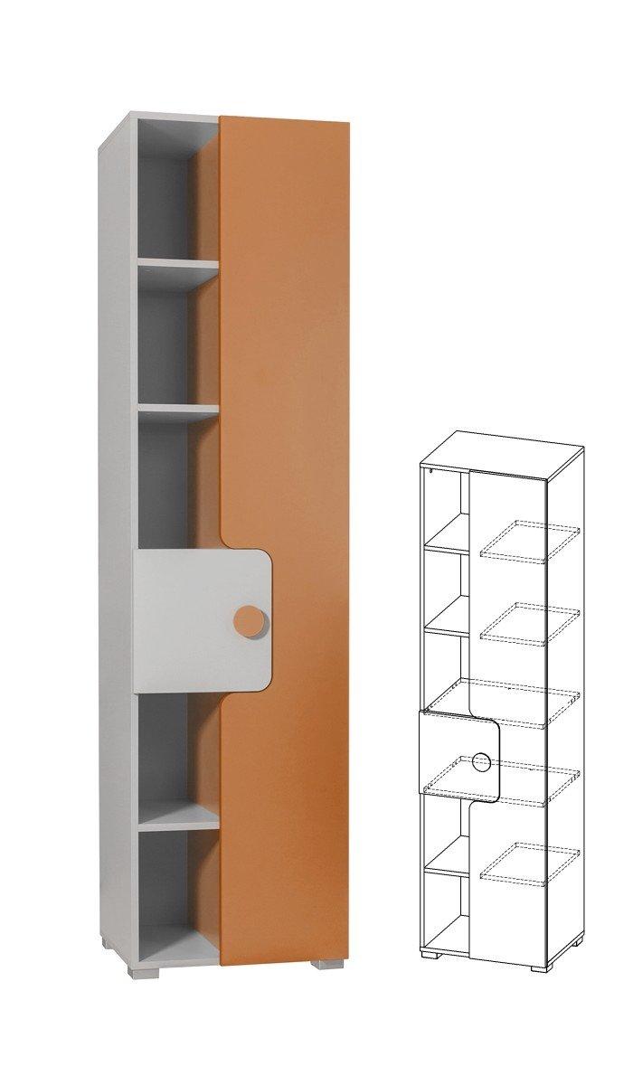 Furniture24-eu Regal mit Türen YUKO Schrank Hochschrank (Hell Grau/Orange)