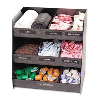 Vertiflex Vertical 3-Shelf Condiment Organizer, 9 Compartments, 14.5 x 11.75 x 15 Inches, Black (VFC-1515)