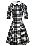 oxiuly Women's Long Sleeve Turn Down Collar Party Cocktail Casual A-Line Dress OX272