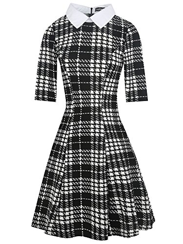(oxiuly Women's Long Sleeve Turn Down Collar Party Cocktail Casual A-Line Dress OX272 (S, Black Plaid Short))